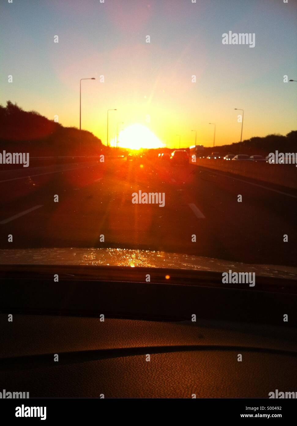 Sunrise on the M62 - Stock Image