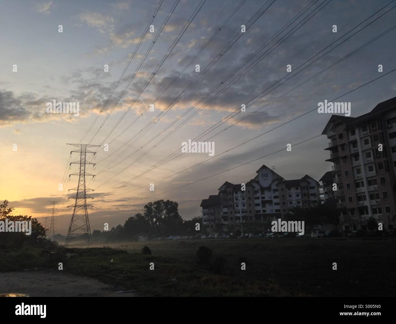 Powerline grids - Stock Image
