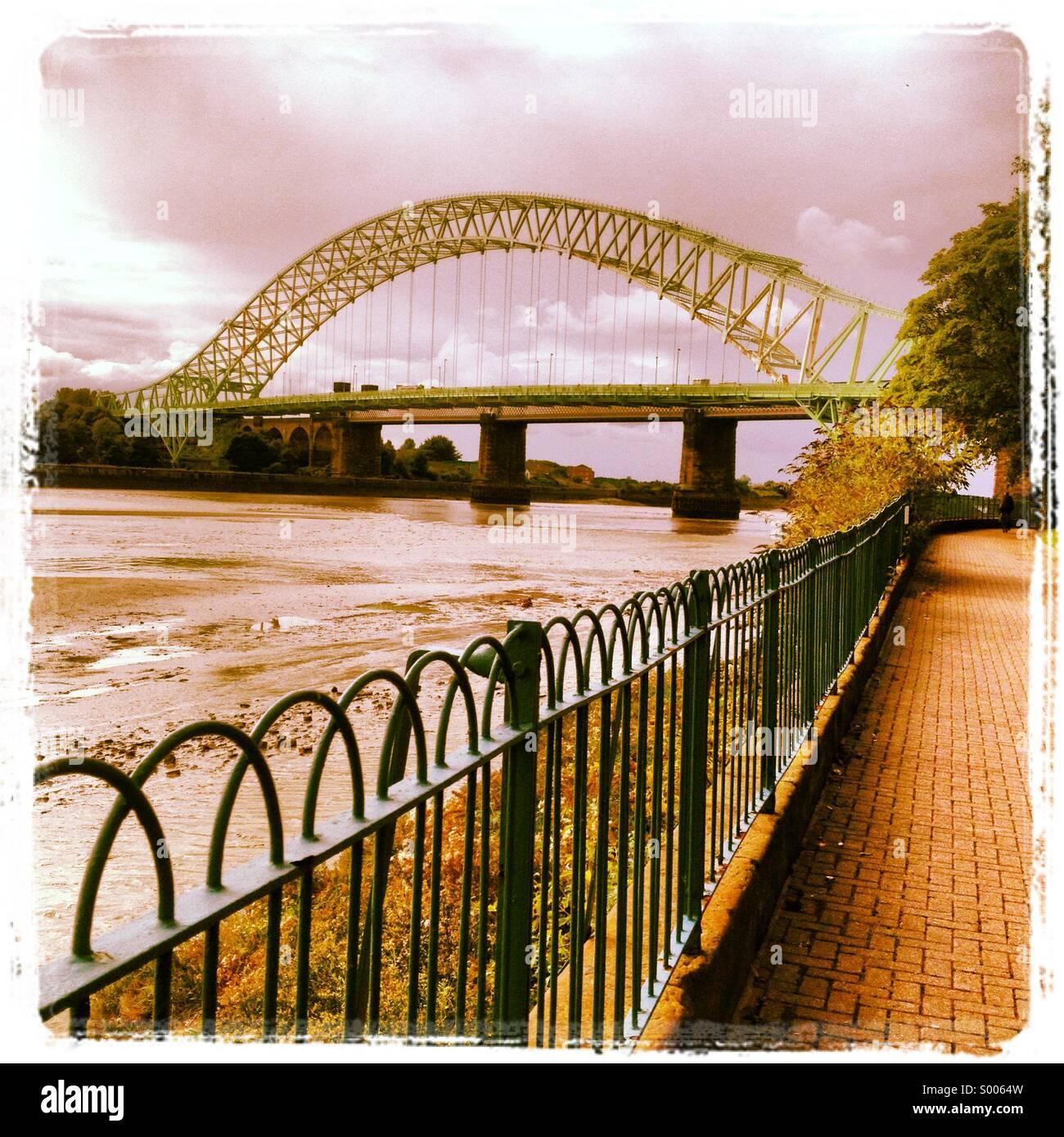 Runcorn Widnes Silver Jubilee road bridge - Stock Image