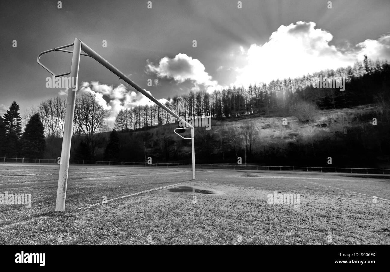 Goalposts in winter - Stock Image
