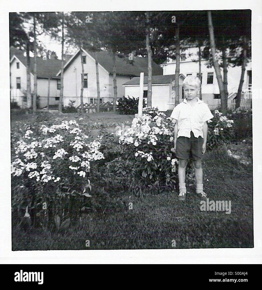 A five year old boy standing in the back yard of his home - Stock Image