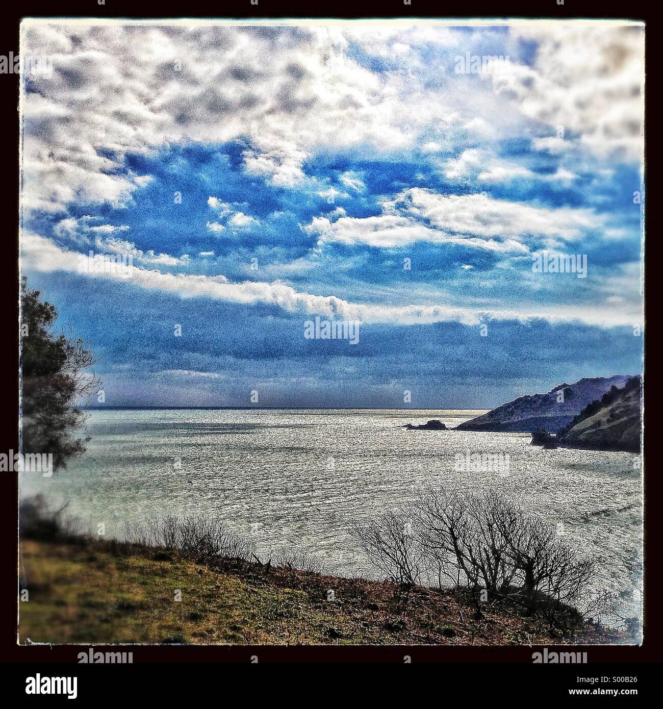 Salcombe estuary in winter - Stock Image