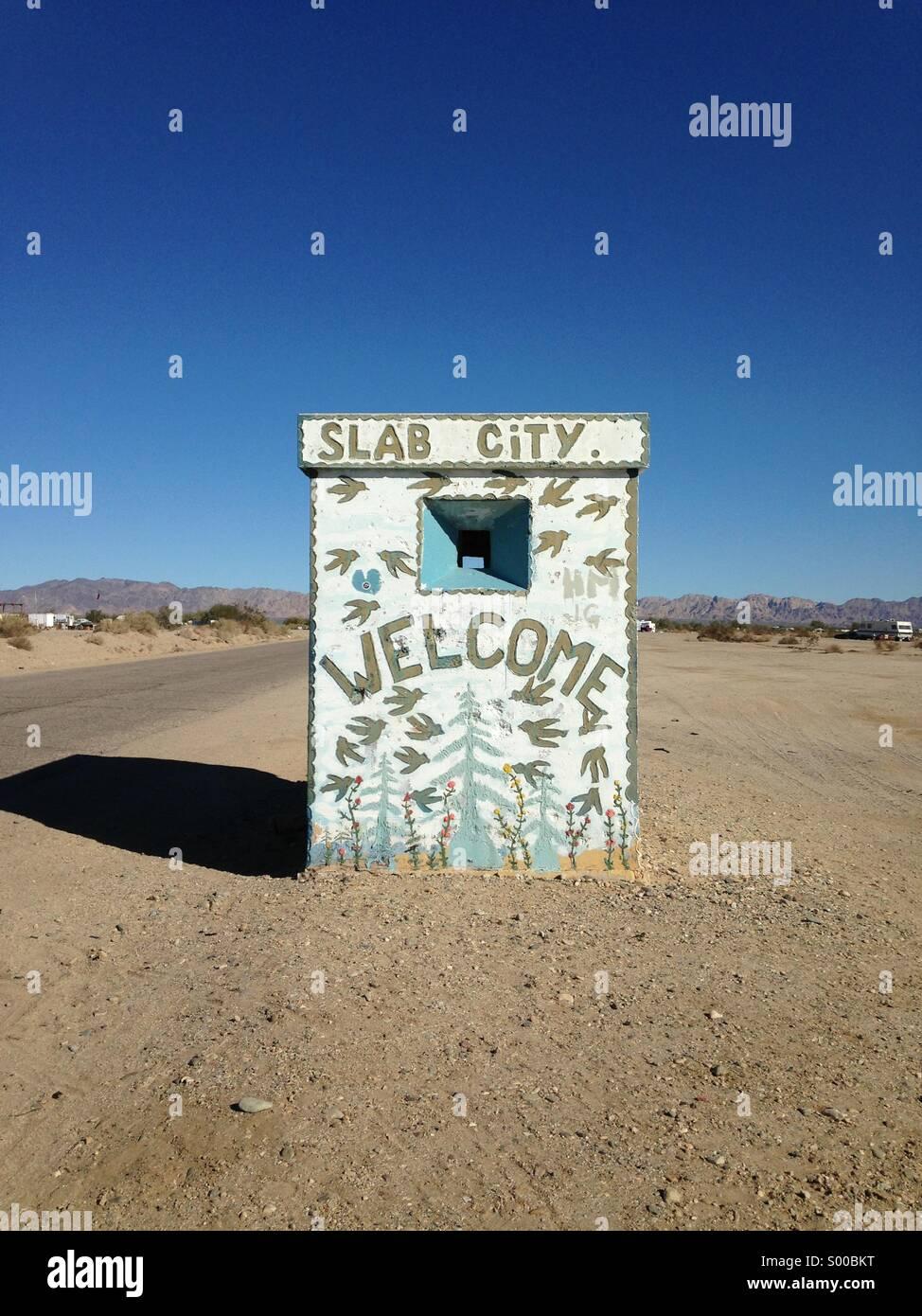 Entrance to Slab City, Niland, Calif. - Stock Image