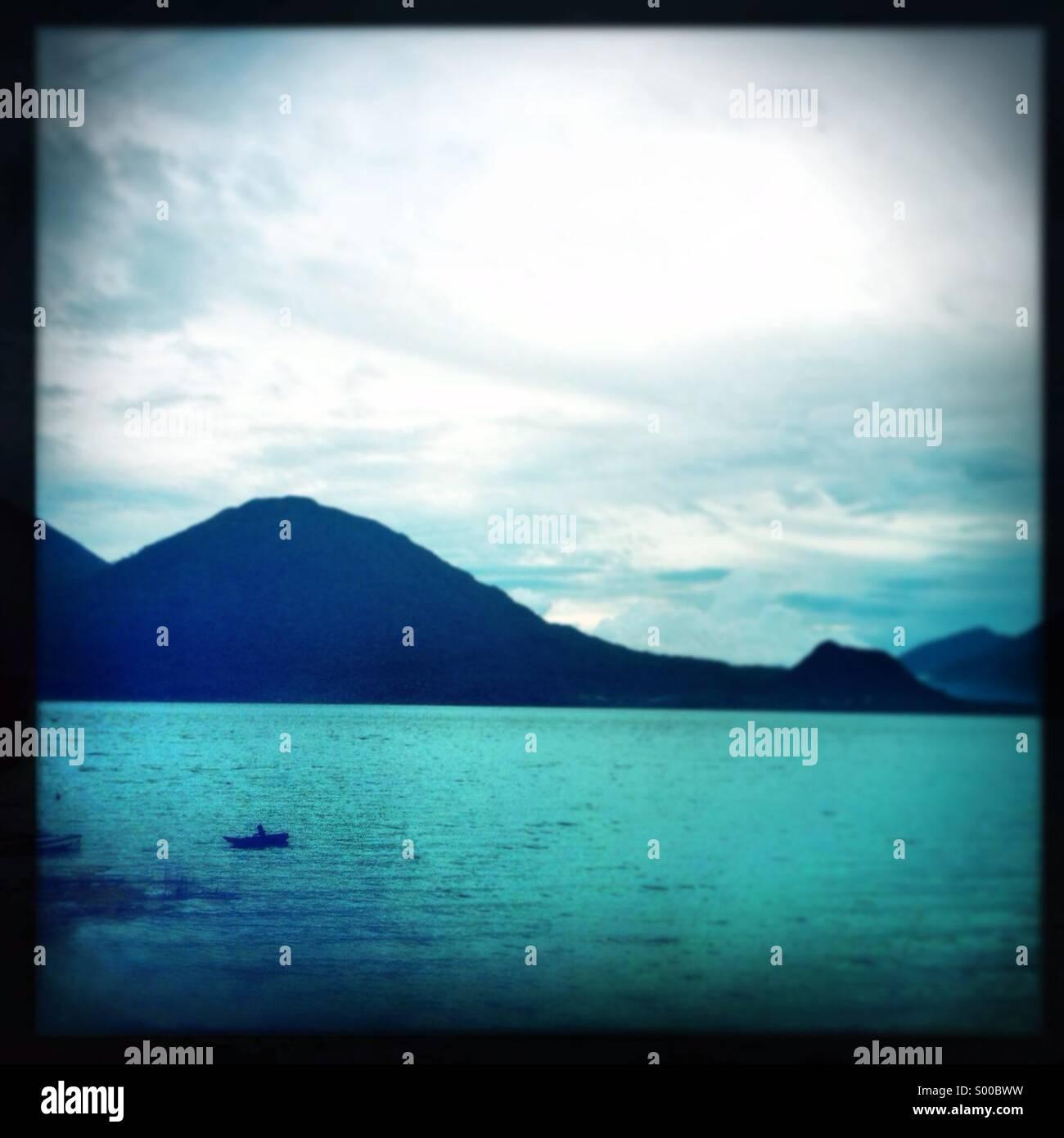 Lake Atitlan from San Antonio Palopo , Solola, Guatemala. - Stock Image