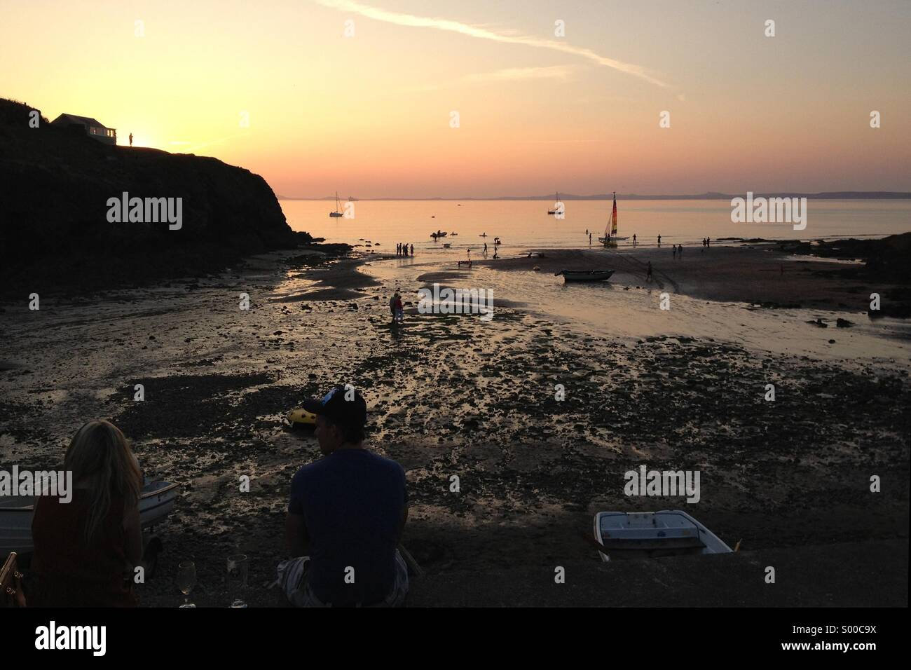 Sunset at Little Haven beach - Stock Image