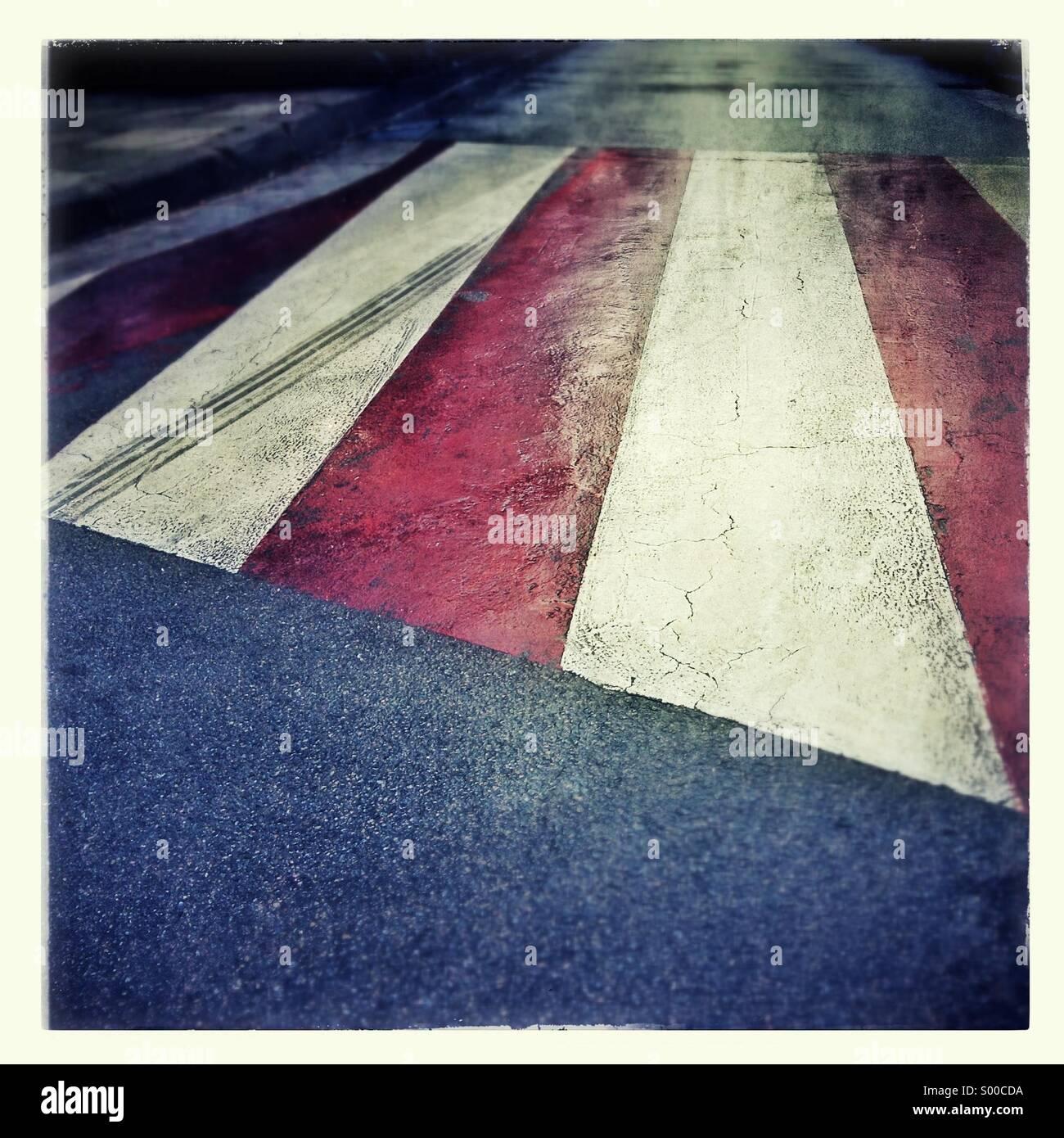 Pedestrian crossing, zebra crossing sidewalk - Stock Image