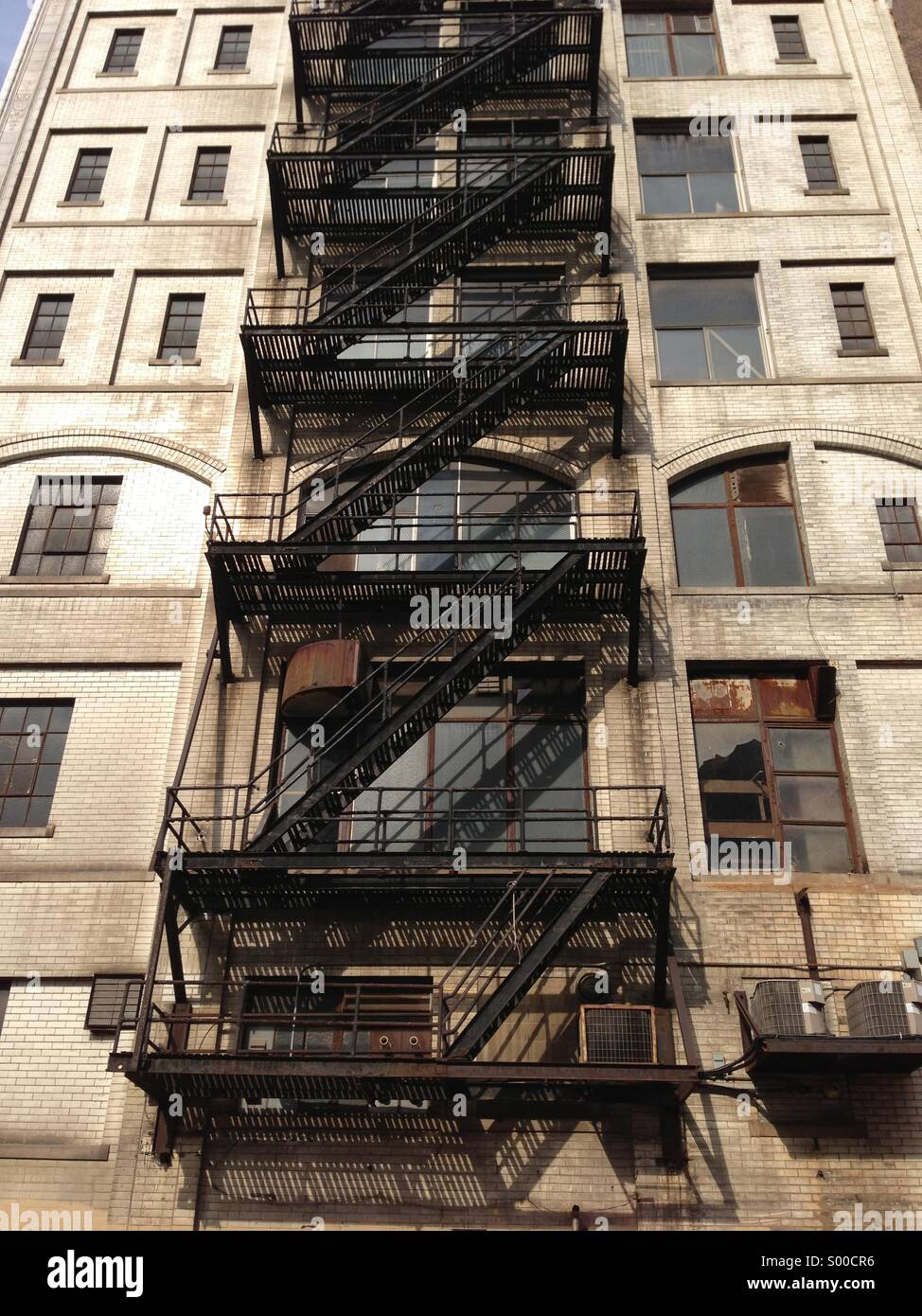Fire escape on side of building in Detroit, Michigan - Stock Image