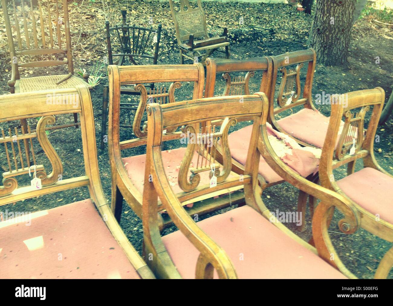 Chairs at an outdoor sale - Stock Image