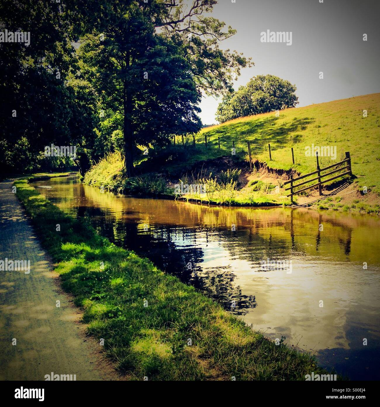 Summer canal scene - Stock Image