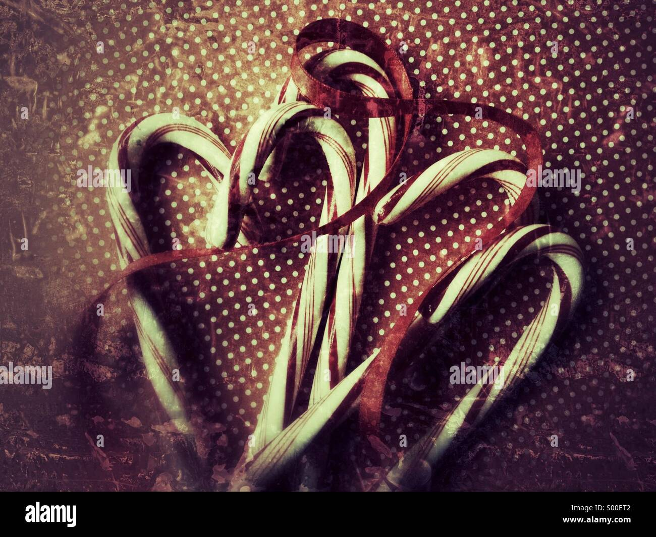 Grunge candy canes - Stock Image