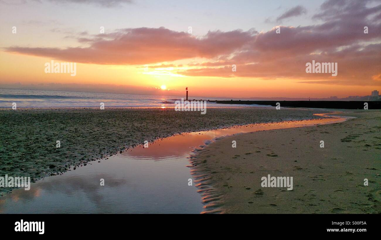 Bournemouth beach at sunset Stock Photo
