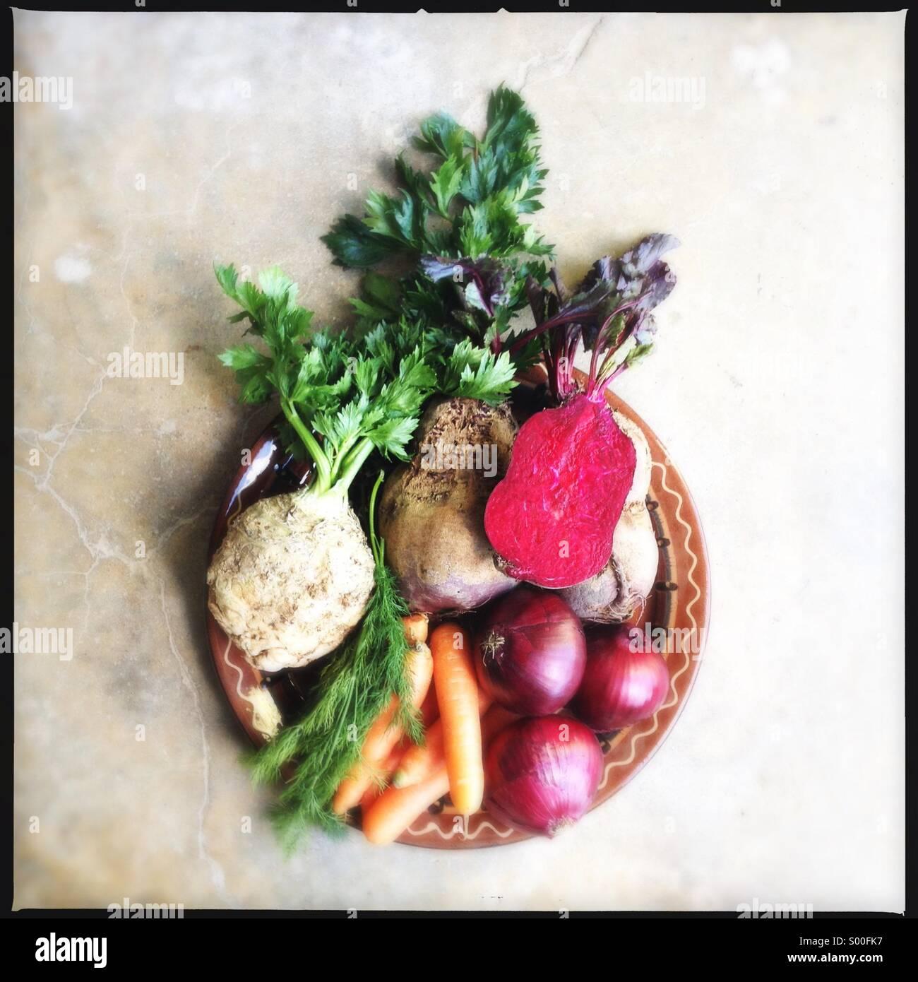 Ingredients for Borscht, Eastern European beet root soup. Stock Photo
