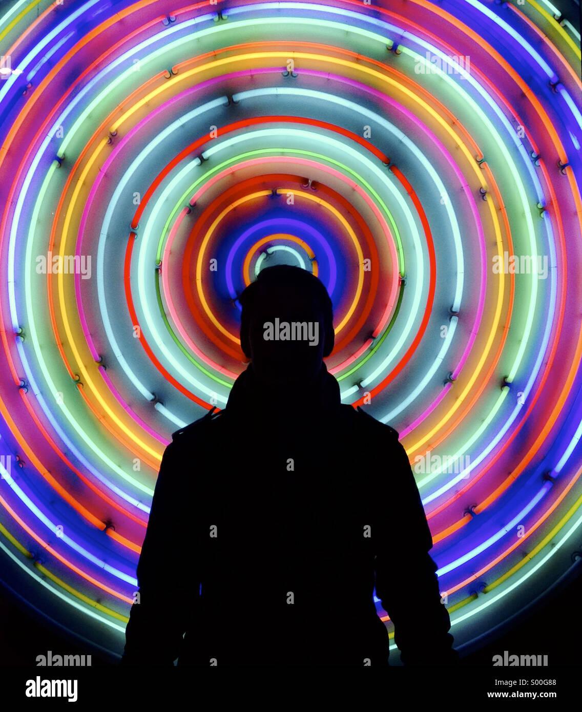 Neon Portrait - Stock Image