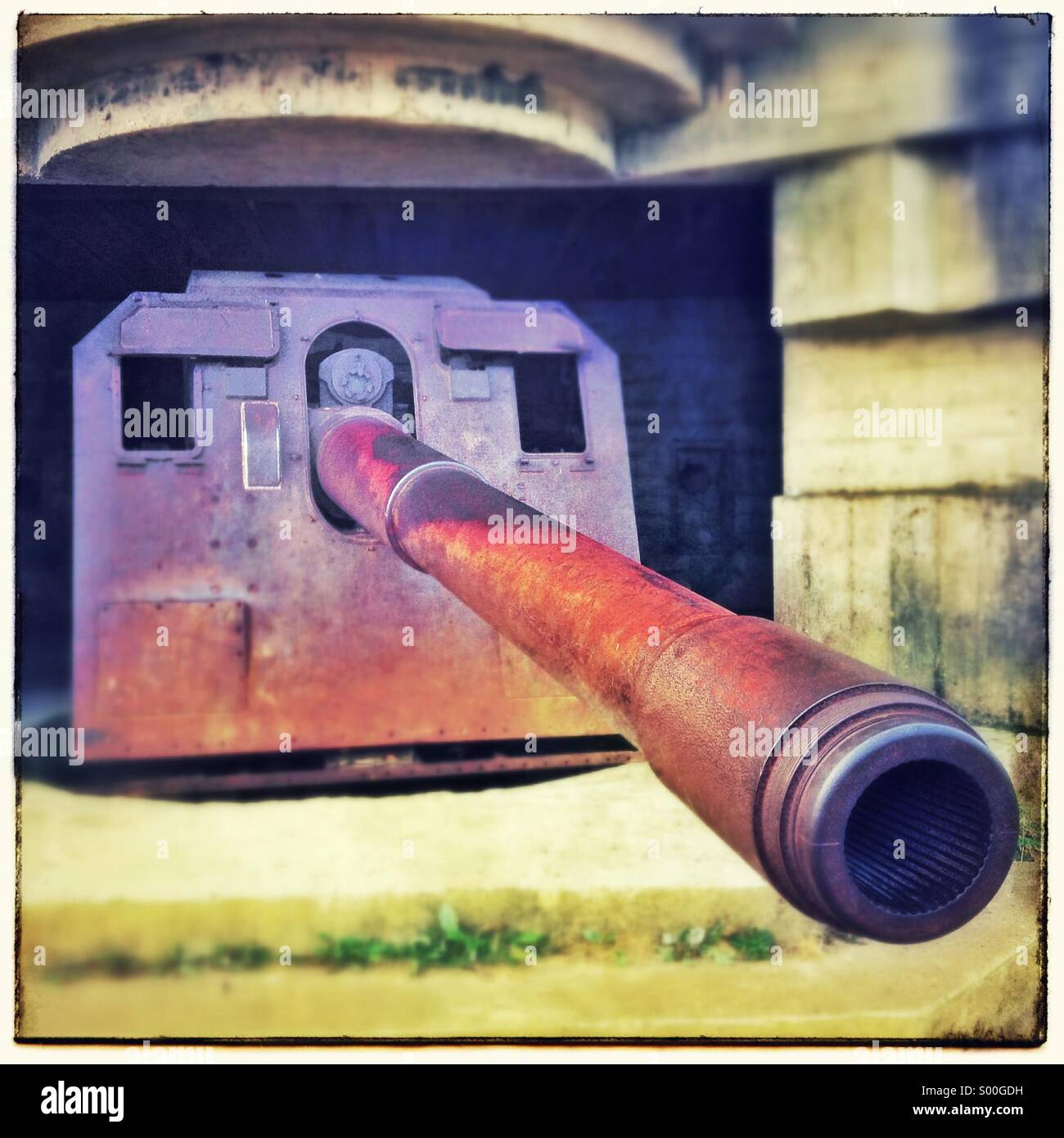 The gun batteries of the Atlantic Wall, Longues sur Mer, France, Calvados. Faces in objects Stock Photo