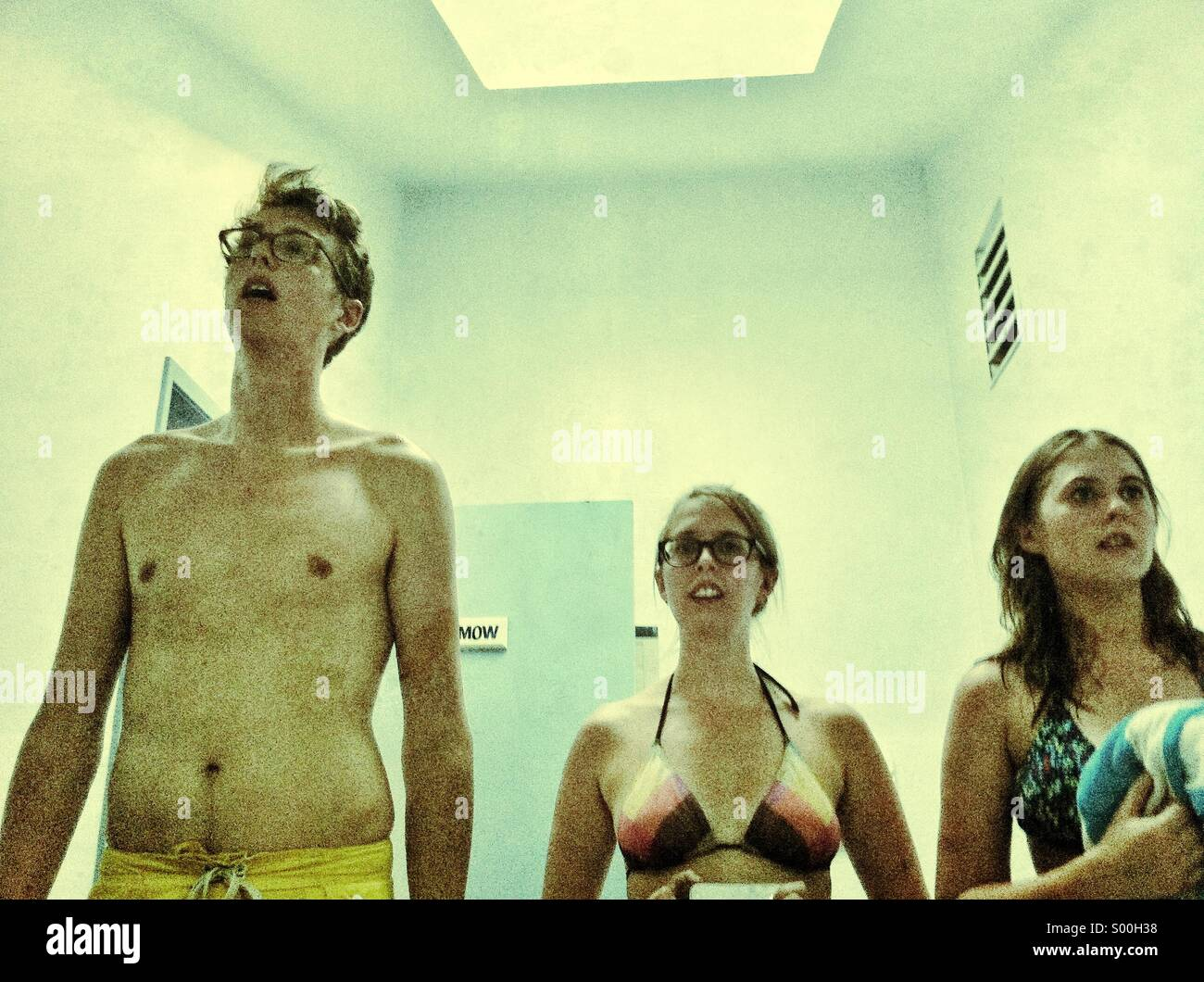 Man and women in mirror selfie - Stock Image