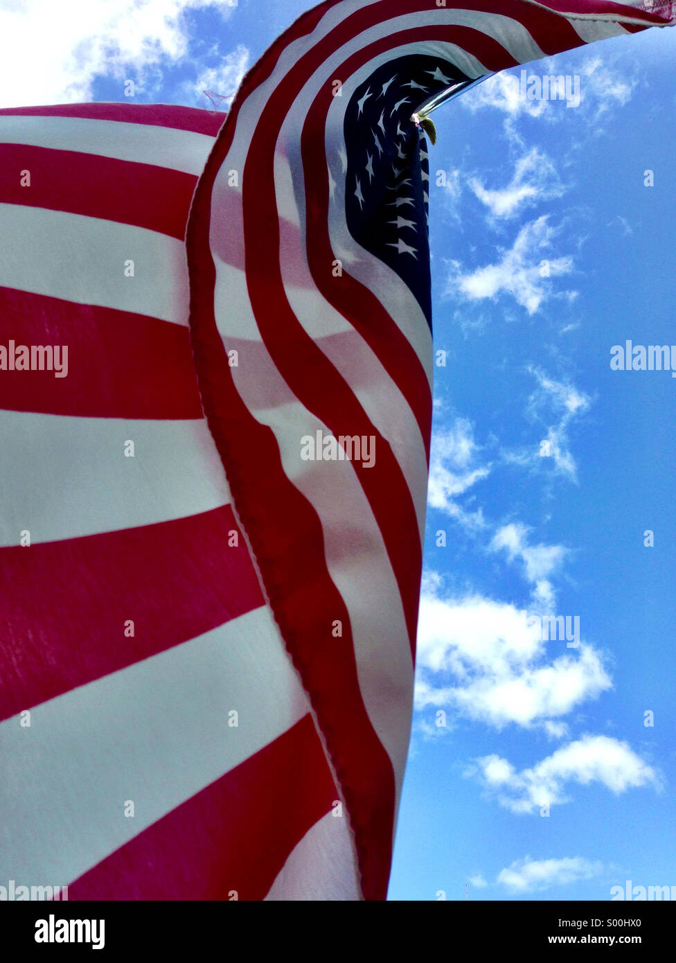 American flag in a summer breeze. - Stock Image