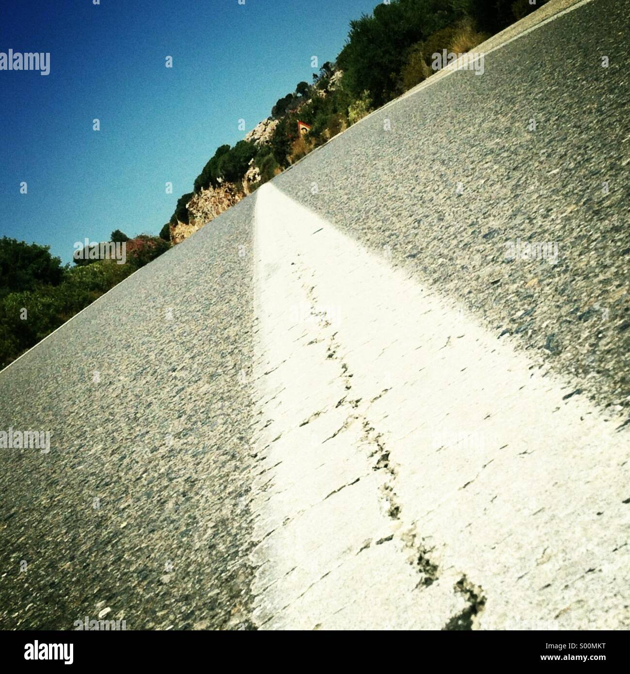 Empty highway. Low angle shot. Square format, iPhoneography. - Stock Image