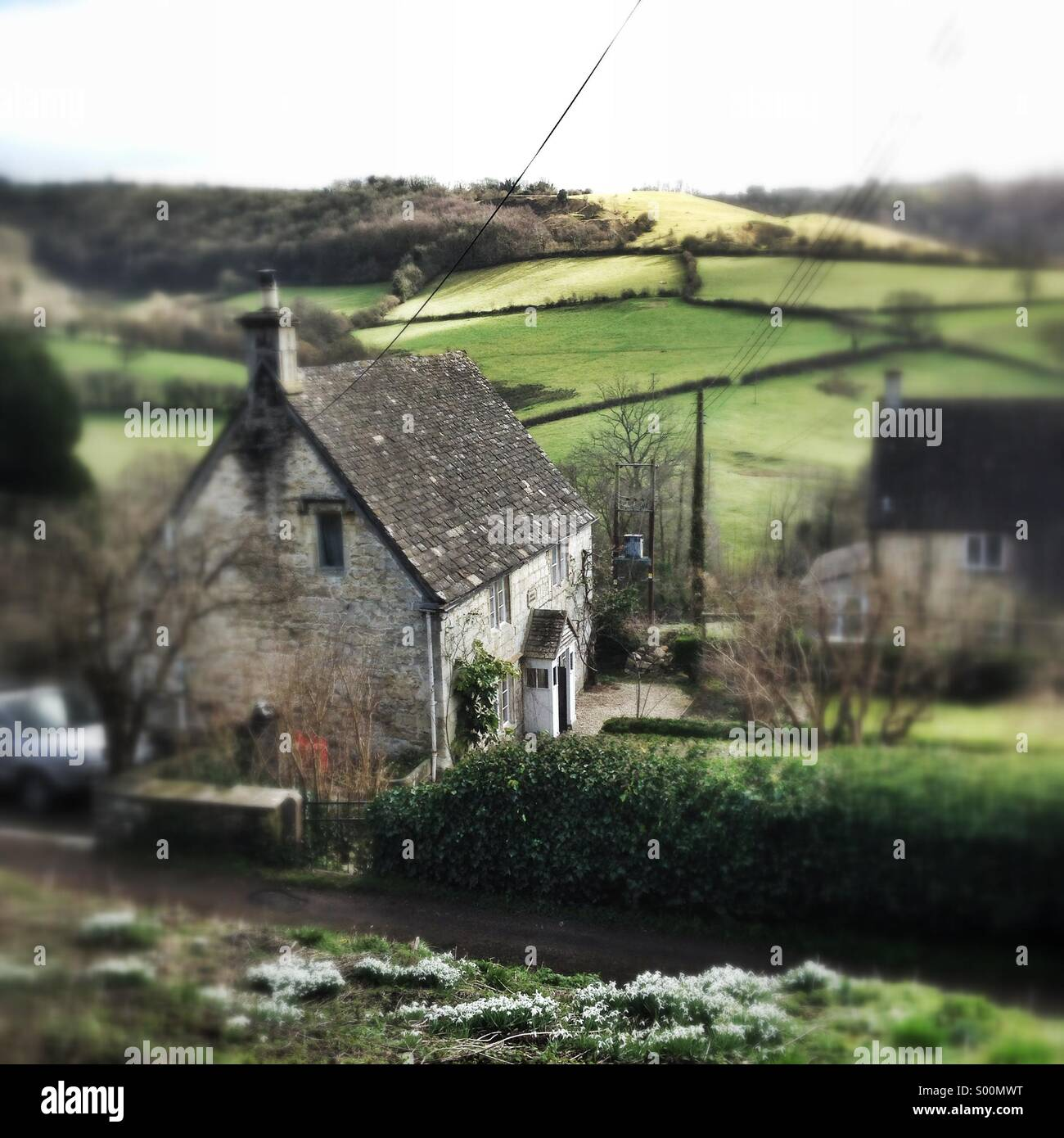 Laurie Lee's cottage in Slad, Gloucestershire. Stock Photo