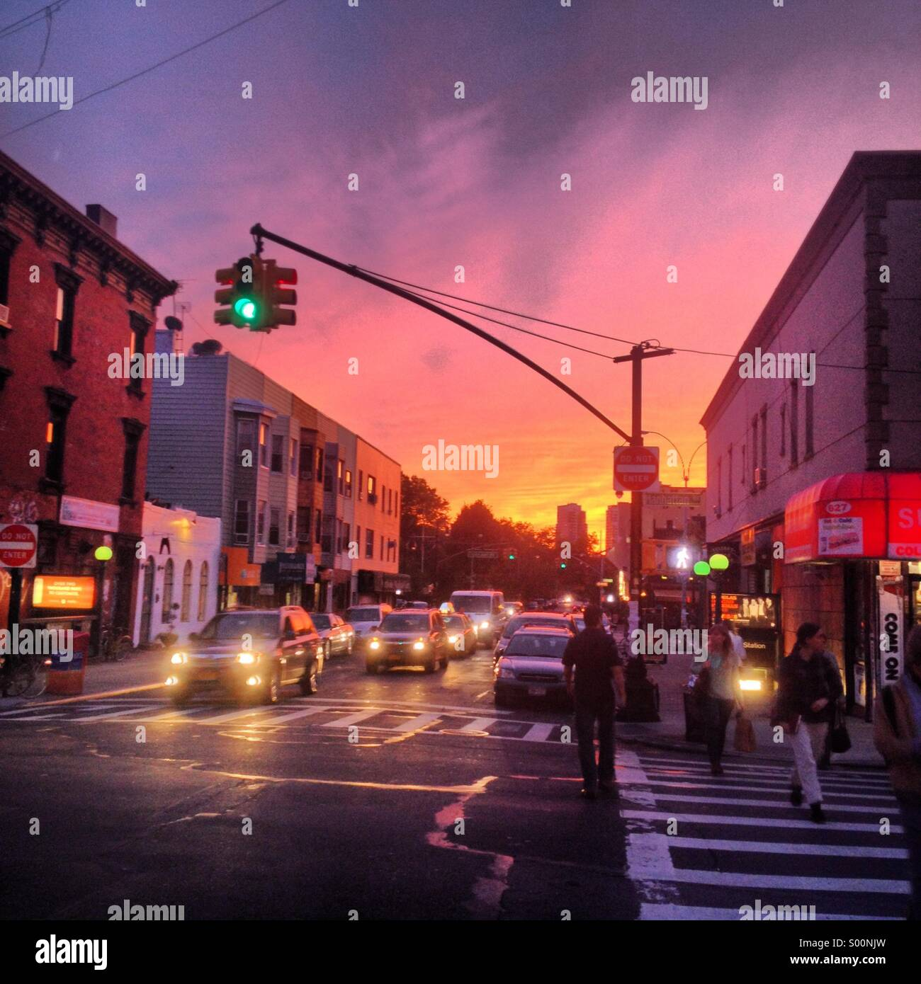 Sunset in Greenpoint, Brooklyn on October 8, 2013. - Stock Image