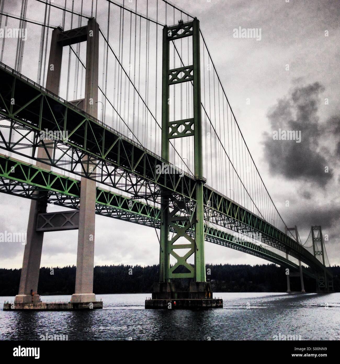 Tacoma Narrows Bridge in Washington state, USA - Stock Image
