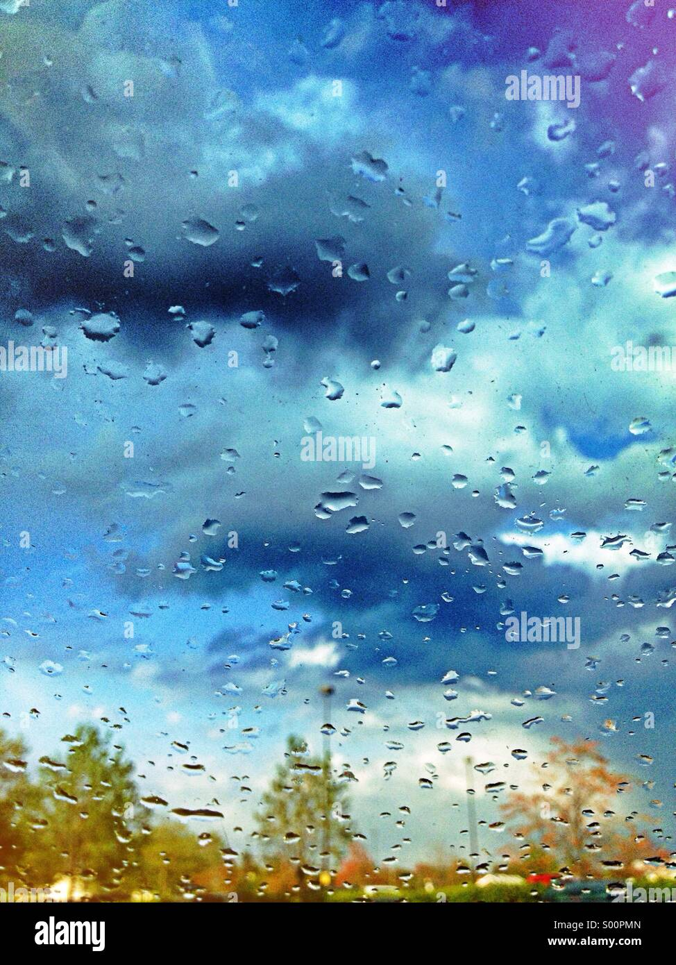Rainy blue sky and trees seen through wet window - Stock Image