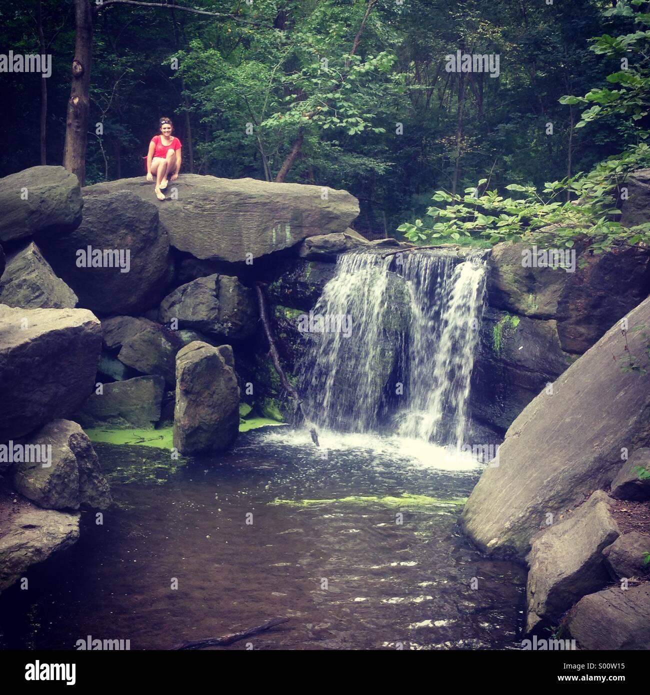 Central Park, man made rockery. New York - Stock Image