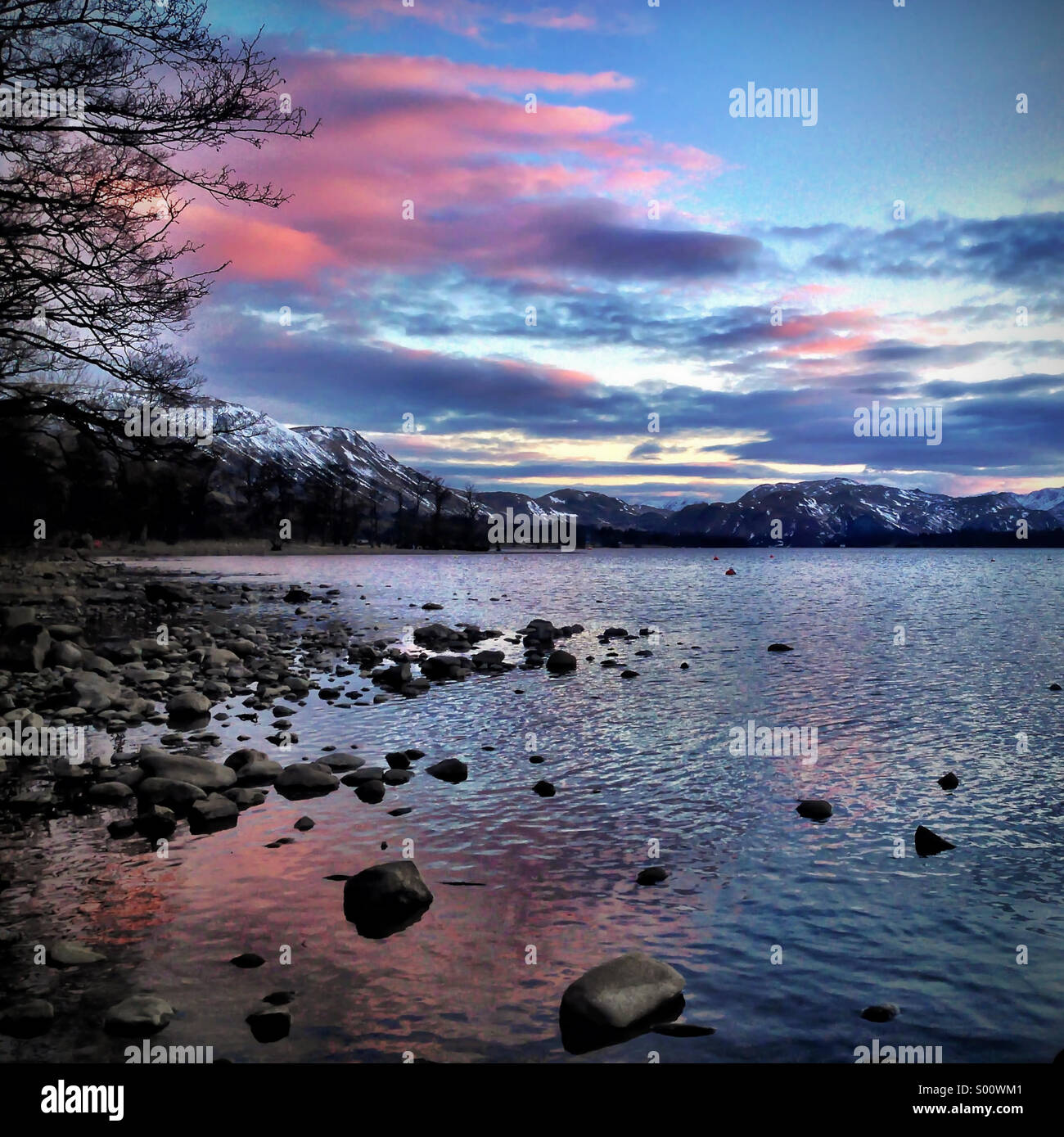 Sunset over Ullswater in the Lake District Stock Photo