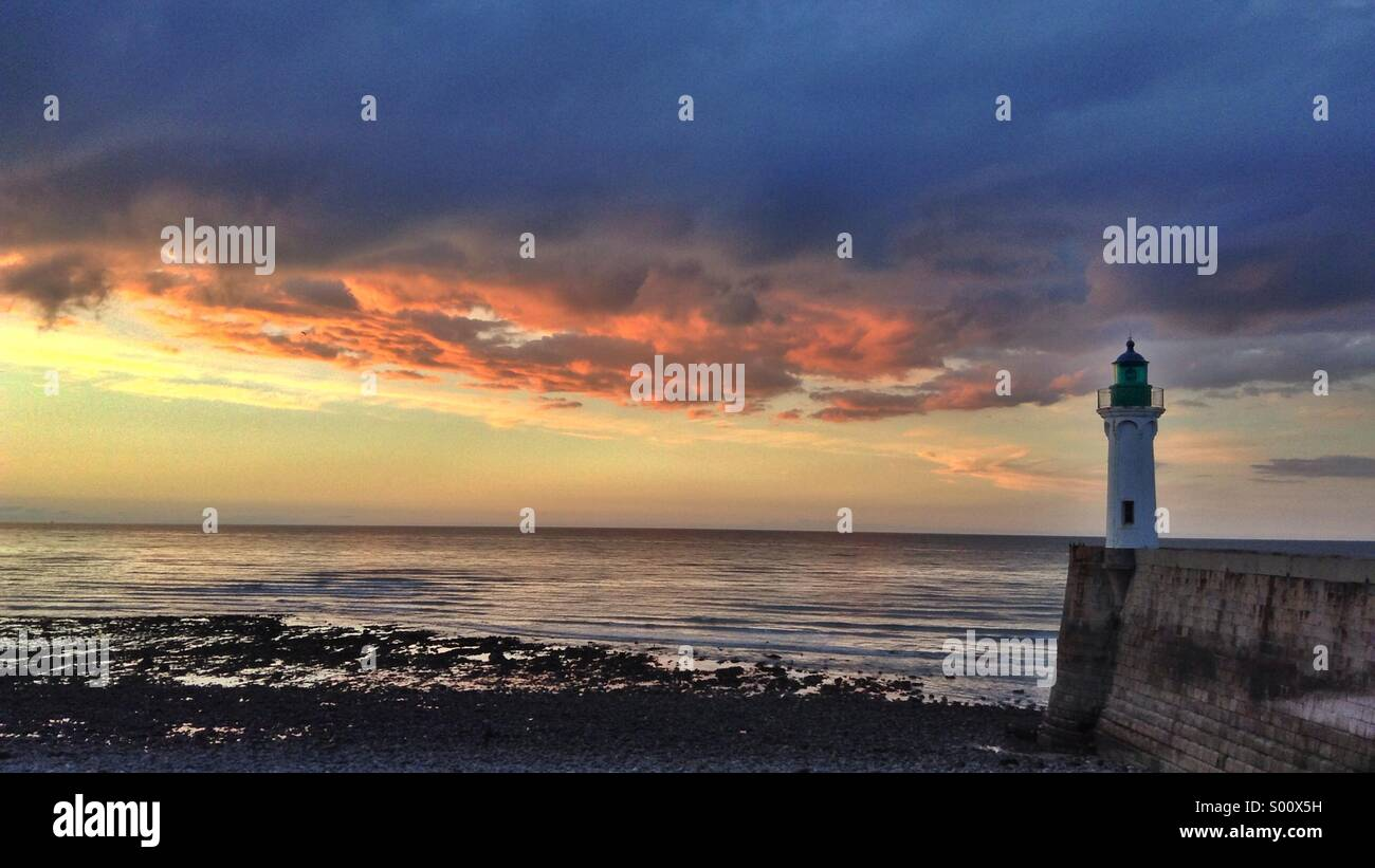 Lighthouse in Normandy, France Stock Photo