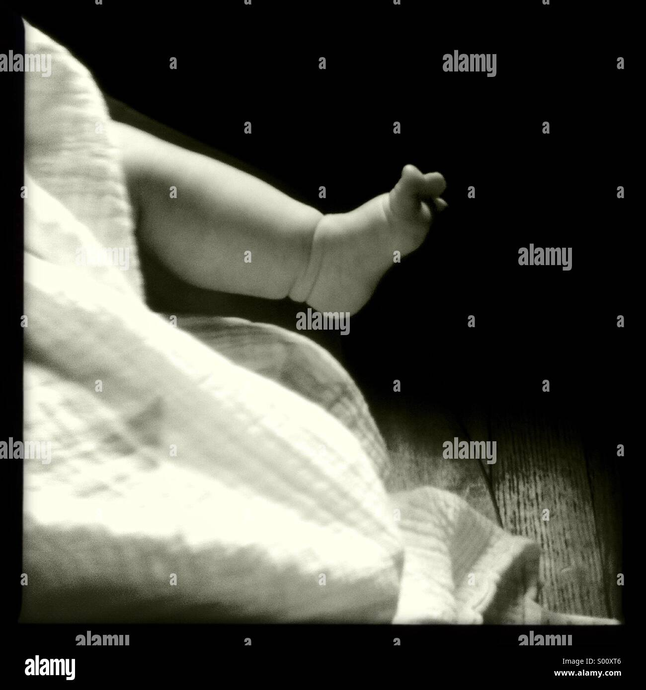 A Baby's chubby leg and foot in pretty light. - Stock Image