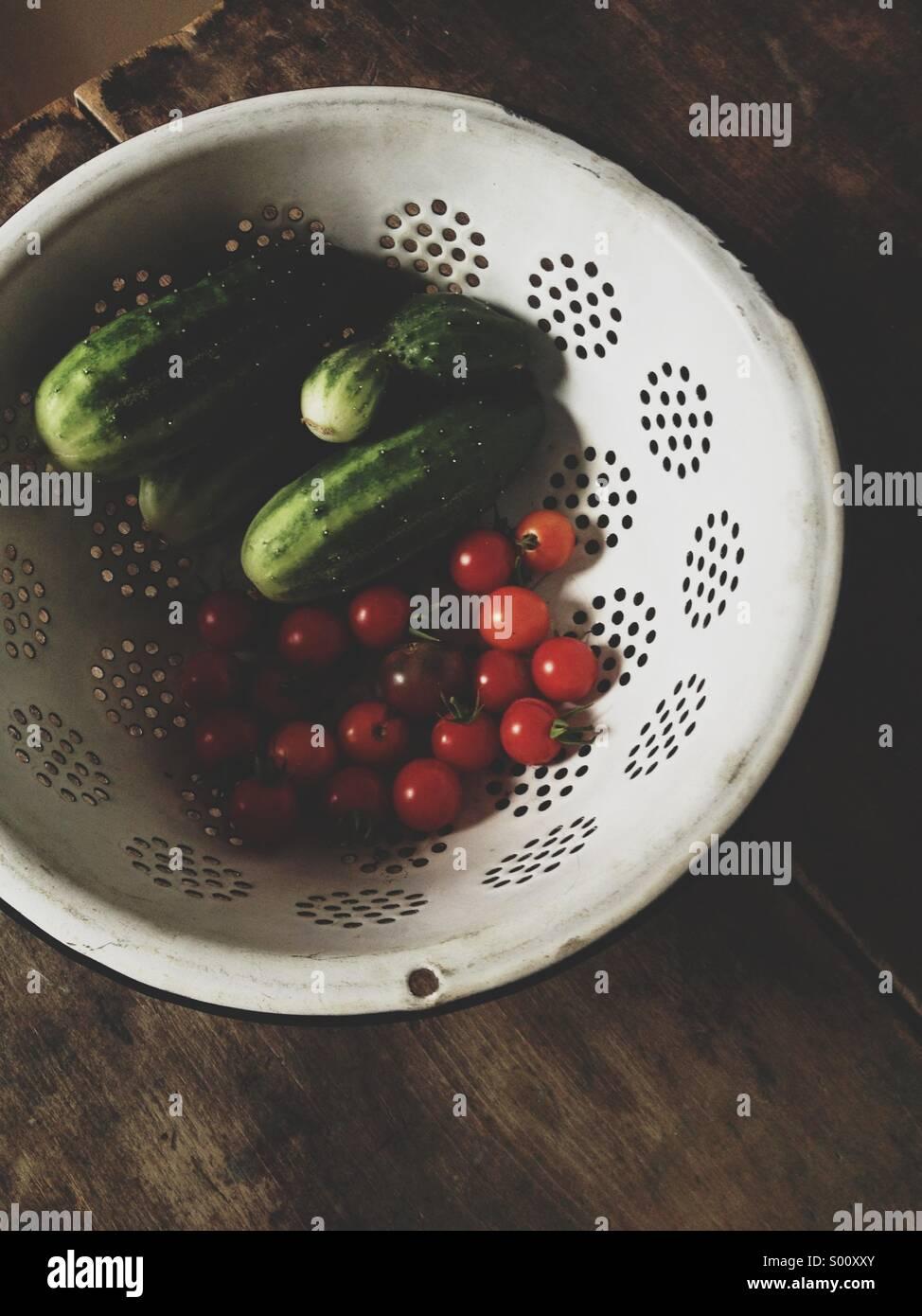 Vegetables harvested from garden. - Stock Image
