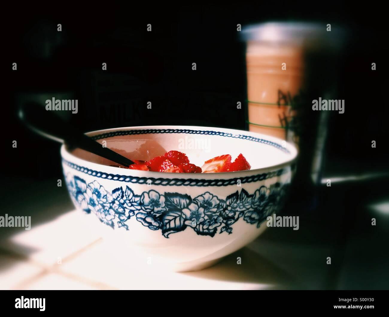 Bowl of breakfast strawberriesStock Photo