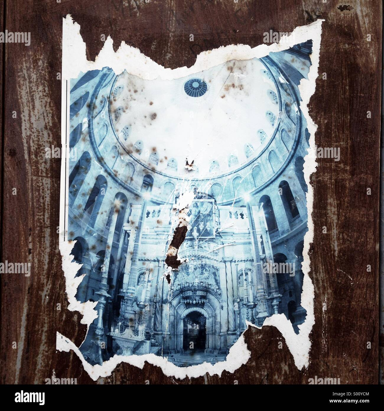 Thorn poster depicting Church of Holy Sepulchre at the Christian quarter in Old city east Jerusalem Israel - Stock Image