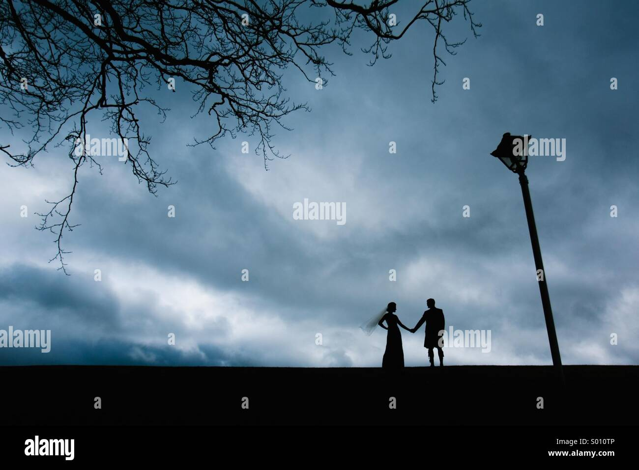 Bride and groom holding hands silhouetted next to a tree and lamppost - Stock Image