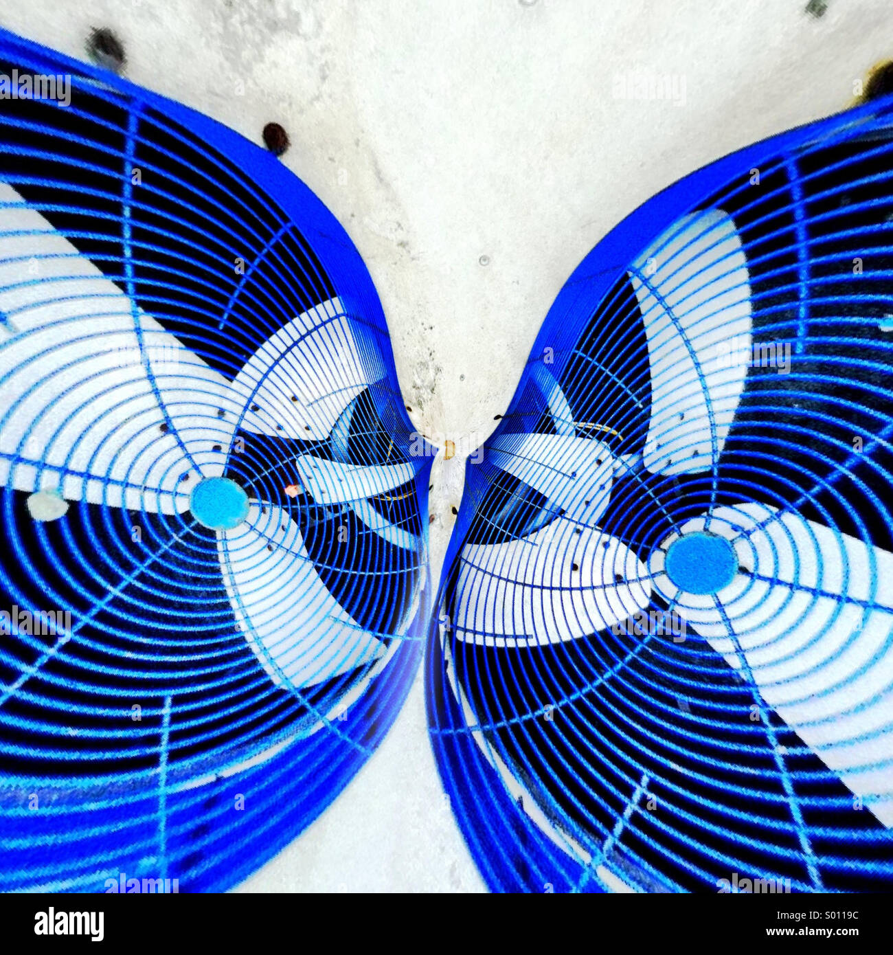 Abstract distortion of two large outdoor fans that look like kissing fish - Stock Image