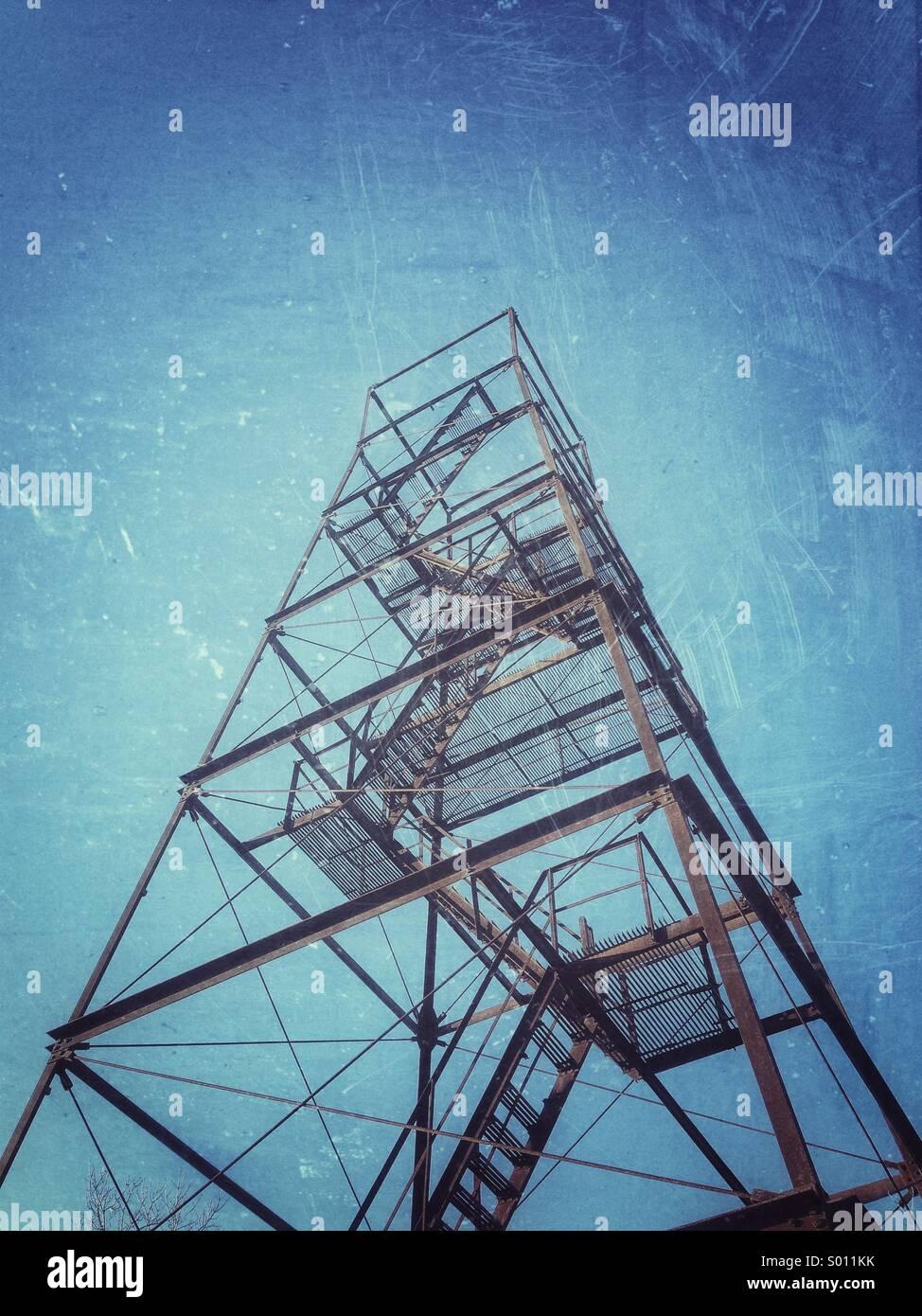 Abandoned fire tower in Lynn, Massachusetts. - Stock Image
