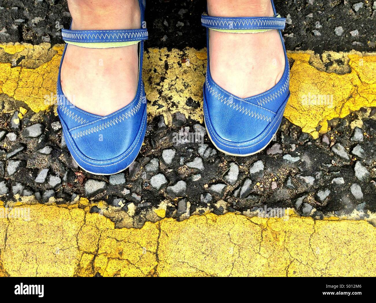 Blue shoes - Stock Image