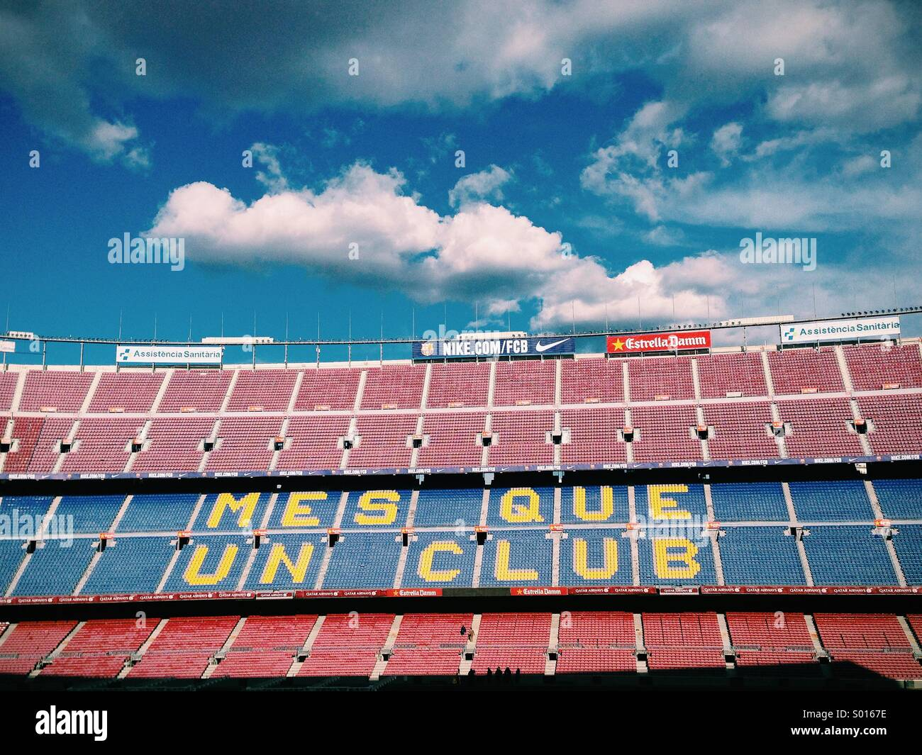 Stadium of FC Barcelona with Sky clouded - Stock Image