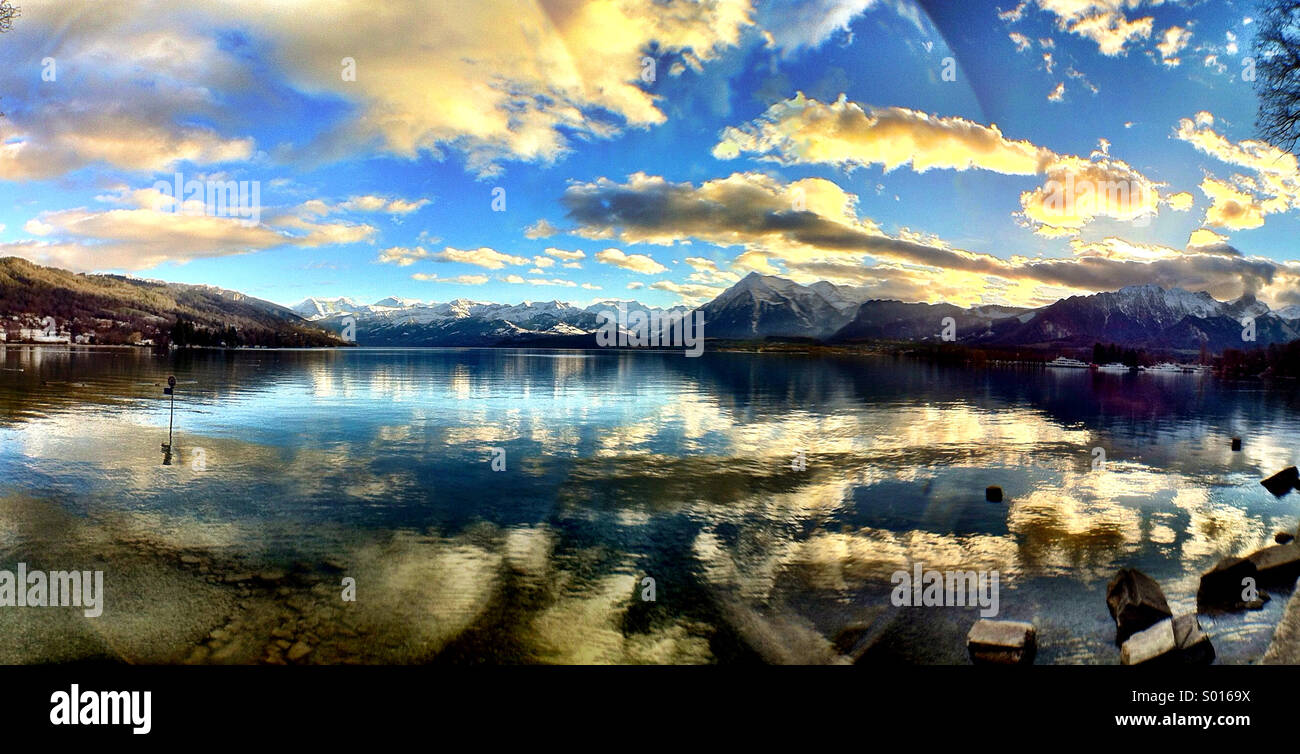 Lake of Thun on a winter afternoon - a classic Swiss scene - Stock Image