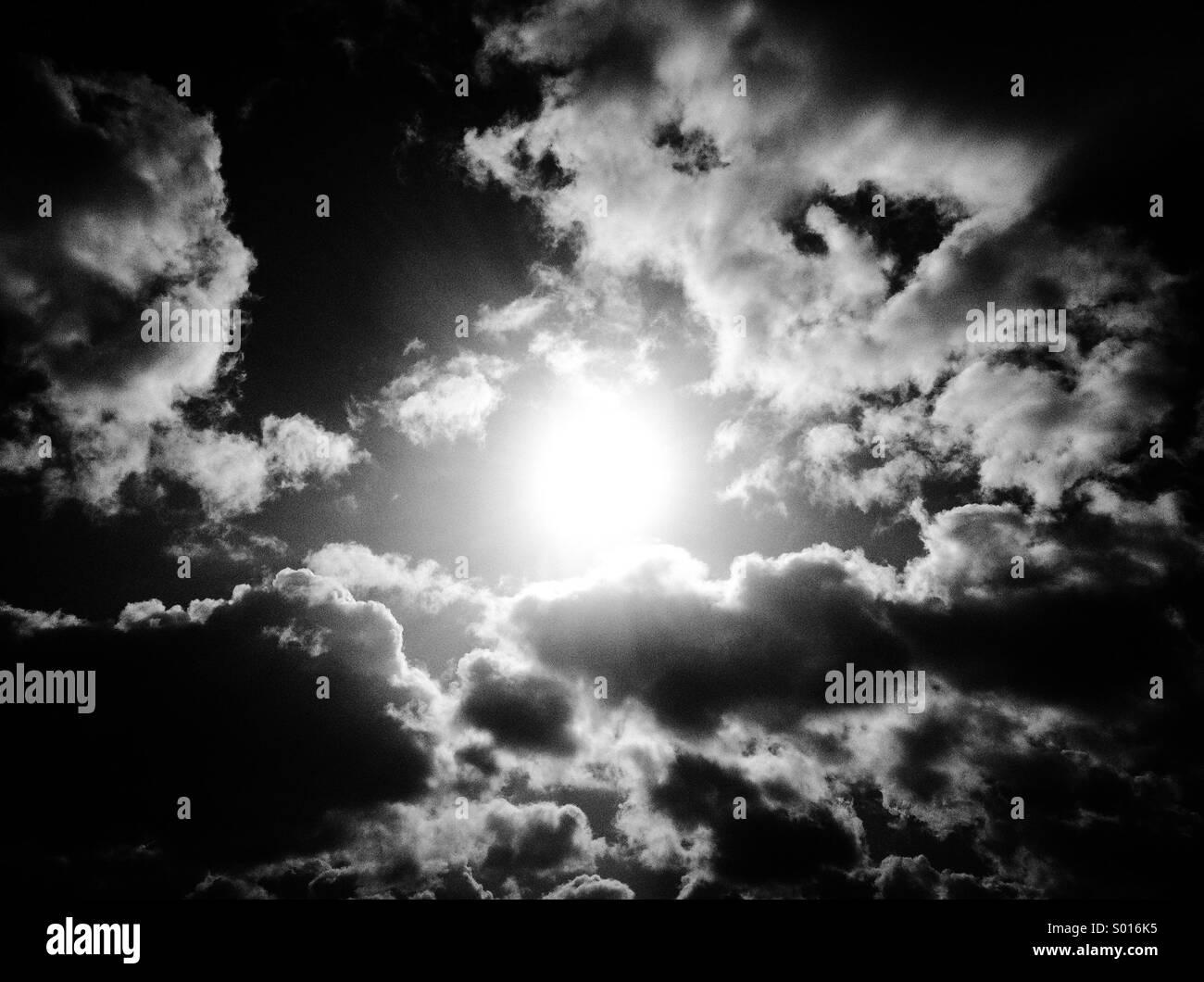 Sun between clouds - Stock Image