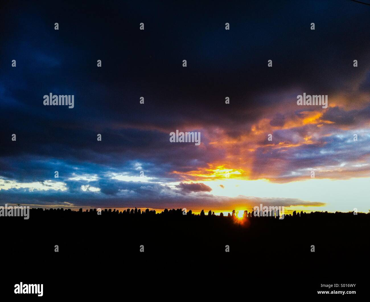 Sunset near Sleaford Lincolnshire - Stock Image