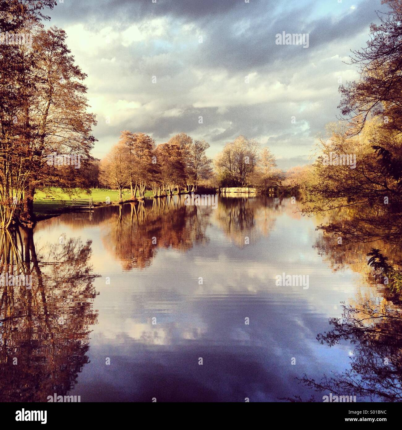 Lake with reflections - Stock Image