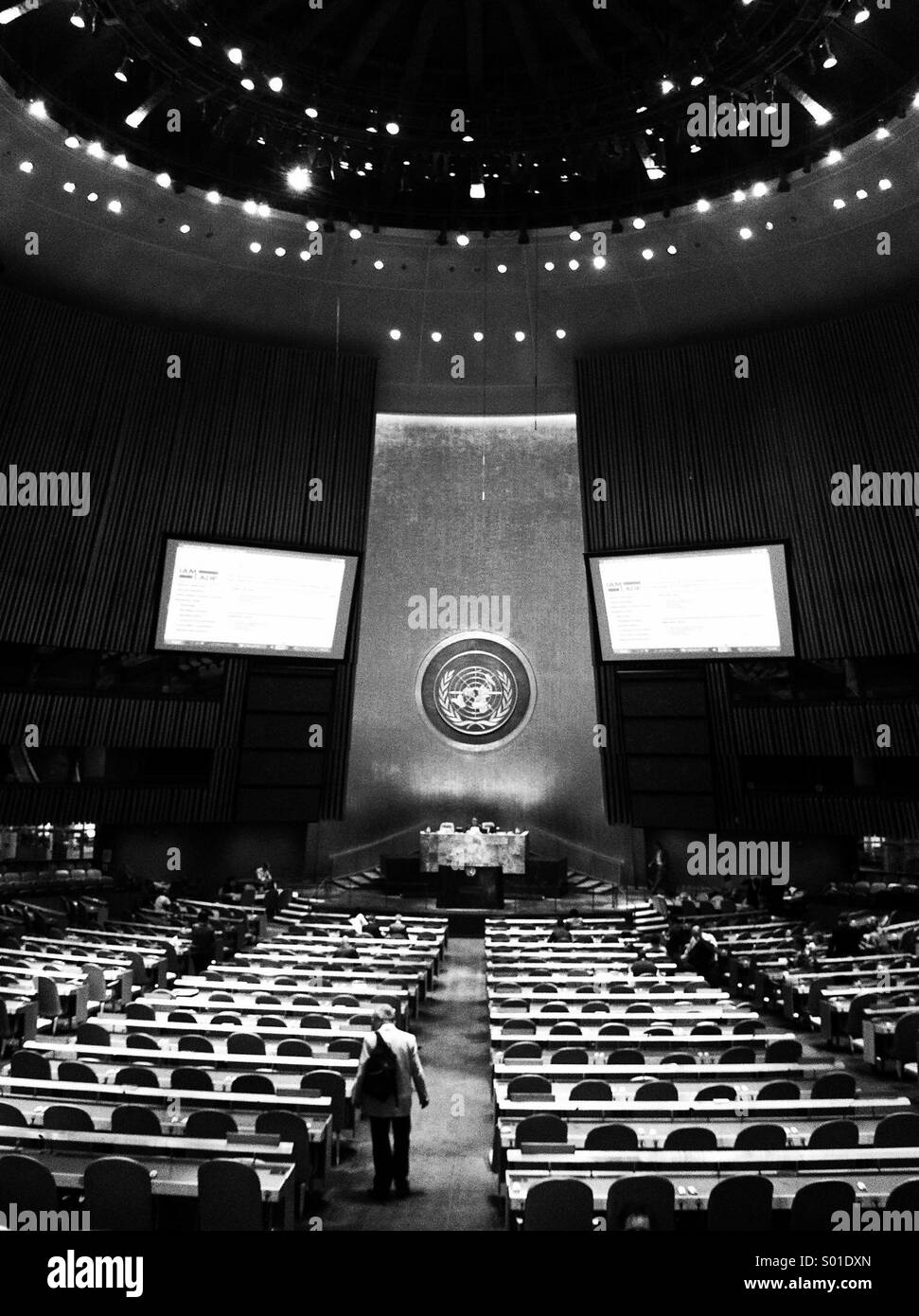 UN General Assembly chamber, New York - the heart of international diplomacy - Stock Image