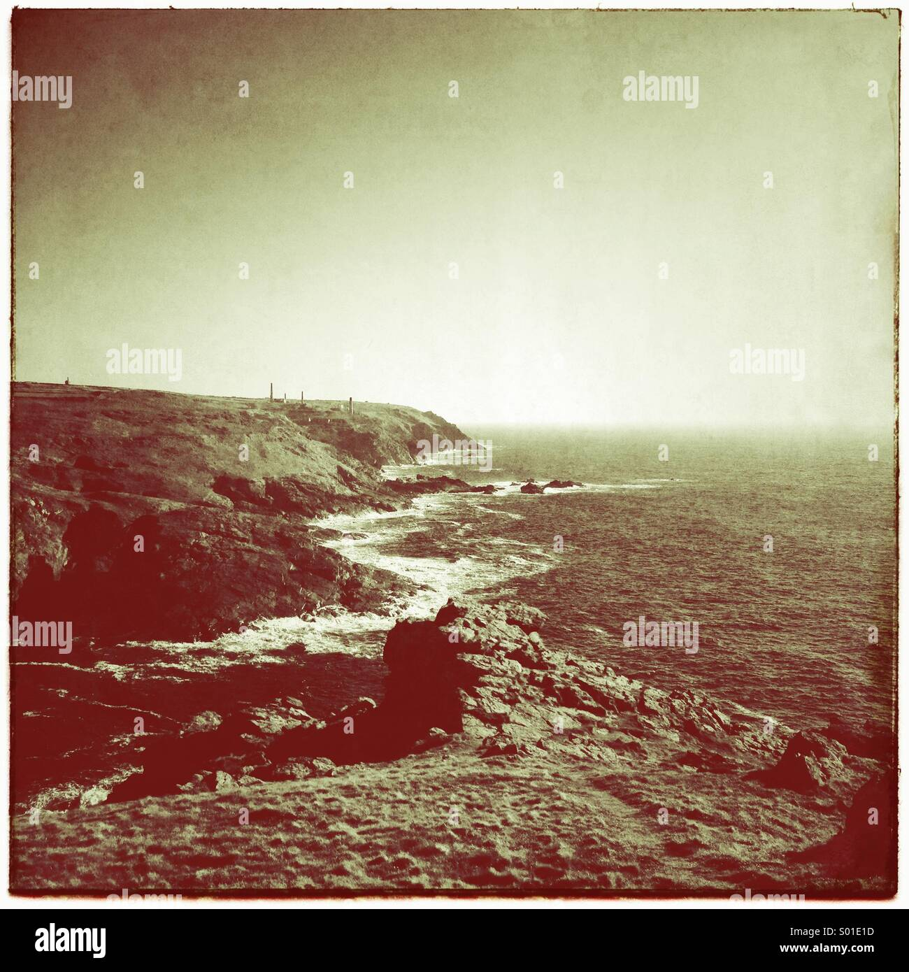 Vintage craggy cliffs - Stock Image