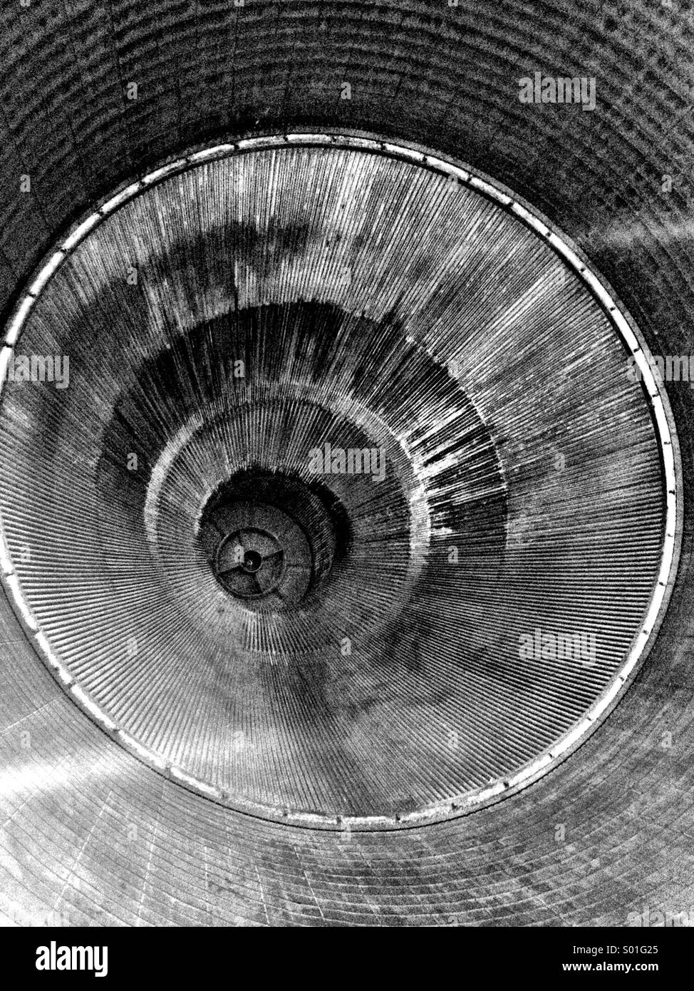 The interior of the nozzle of a Rocketdyne F-1 engine as seen on a Saturn V moon rocket. - Stock Image