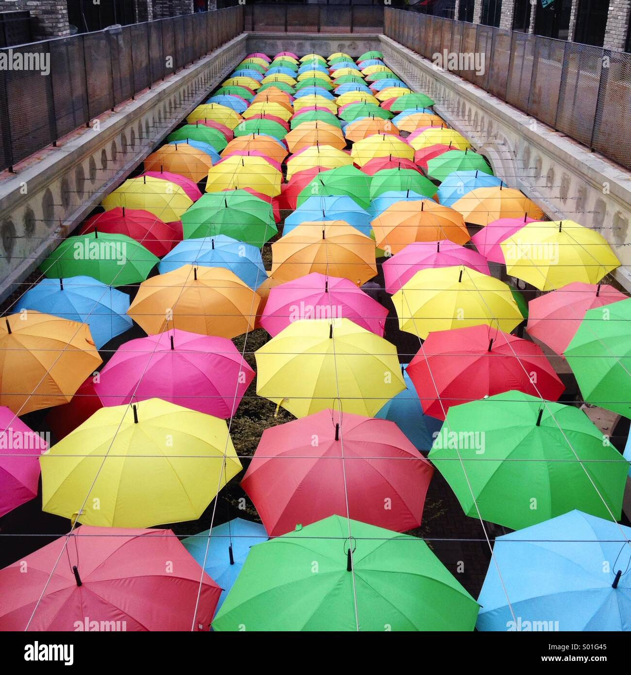 Decoration of umbrellas - Stock Image