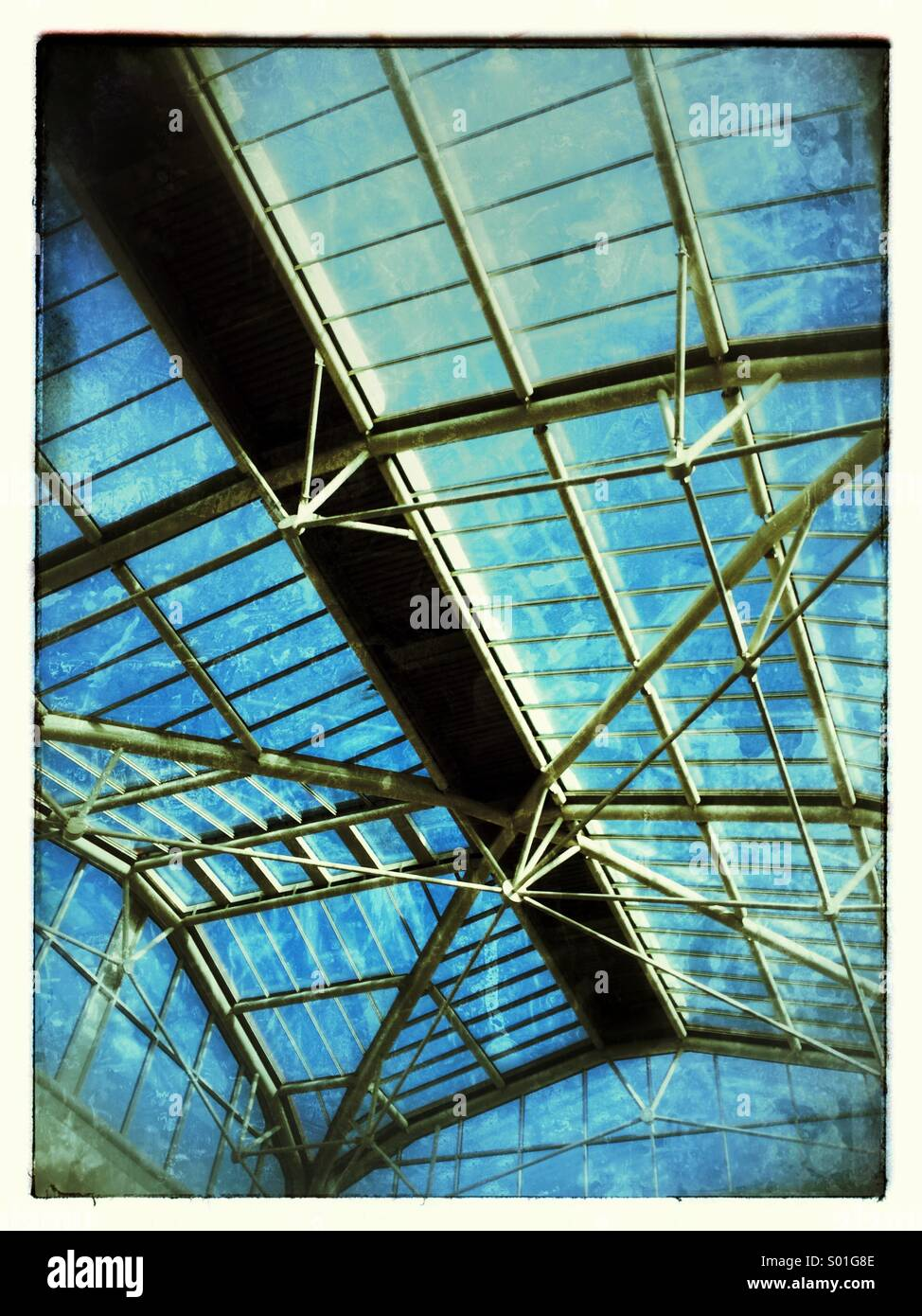 Modern glasshouse structure, - Stock Image