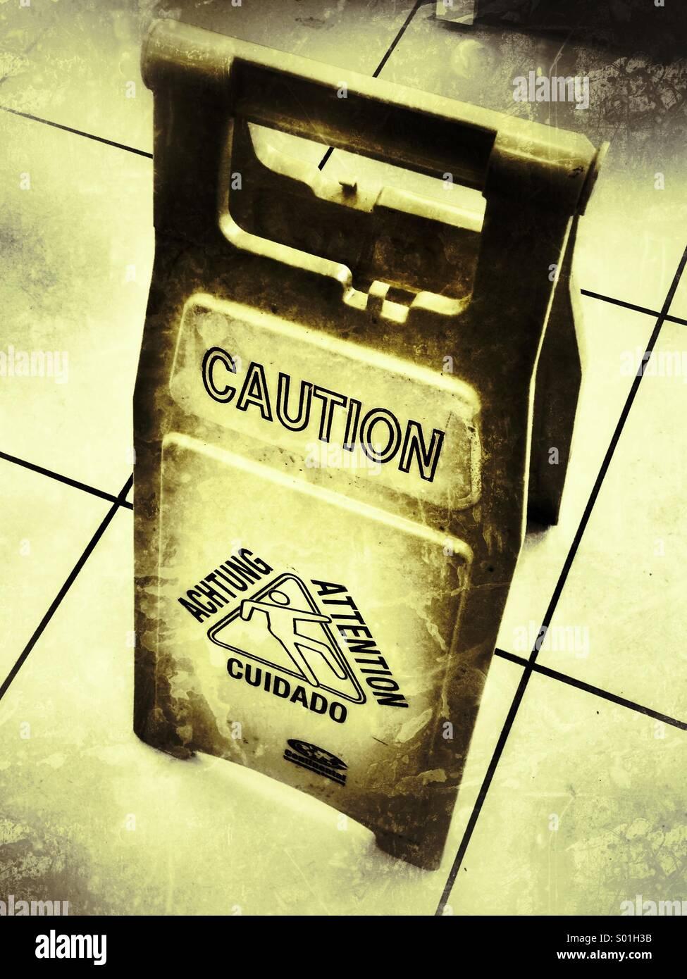 A wet floor warning - Stock Image