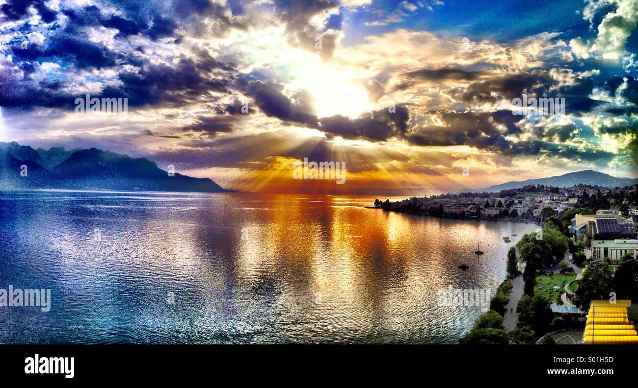 Sunset over Lake Geneva - Stock Image