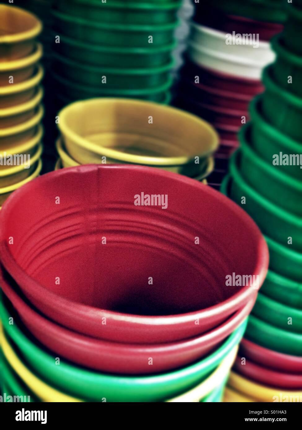 Colour plant pots - Stock Image