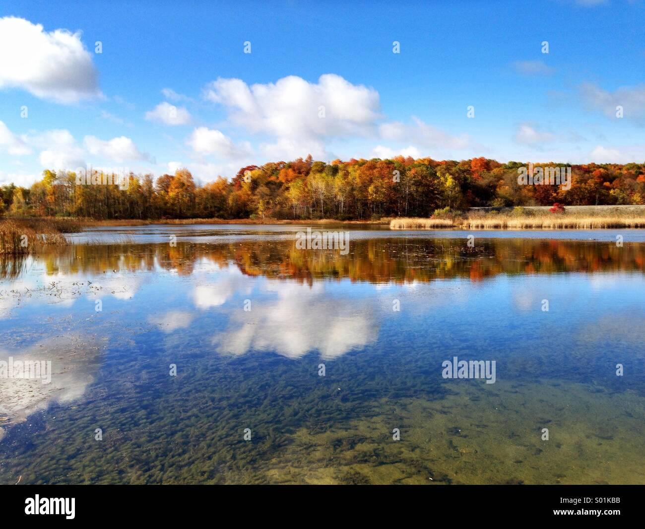 Fall Colors at Haven Hill Lake, Michigan - Stock Image